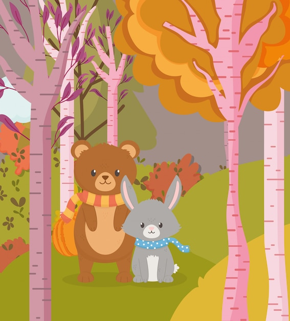 かわいいクマとウサギの動物の森の秋イラスト Premiumベクター