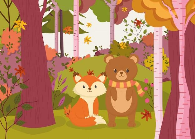 かわいいクマとキツネの森の秋イラスト Premiumベクター