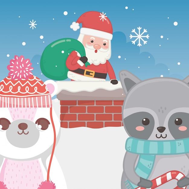 Милый санта в дымоходе енота и белого медведя с рождеством Premium векторы