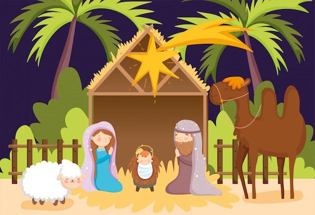 キリスト降誕のシーン Premiumベクター