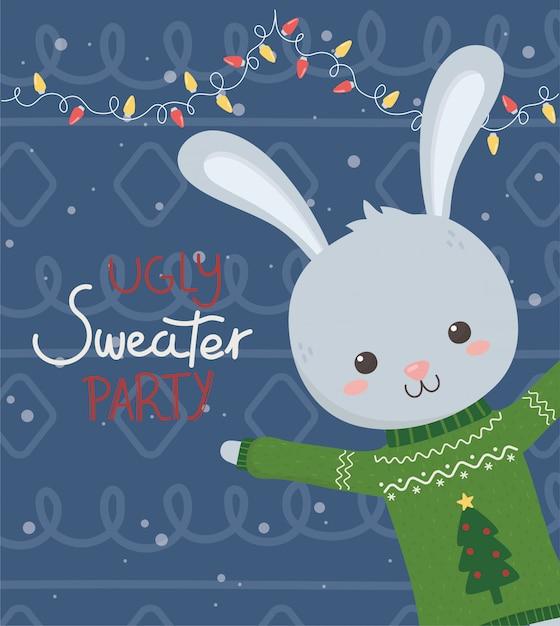 かわいいウサギクリスマスいセーターパーティー Premiumベクター