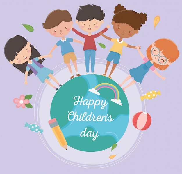 Счастливого детского дня мальчики и девочки по всему миру вместе Premium векторы