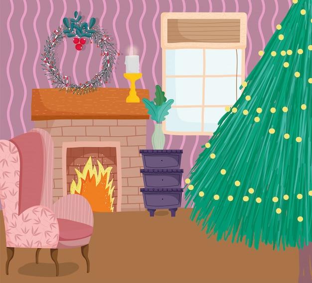 Елка для дома фары дымоход венок диван свеча Premium векторы