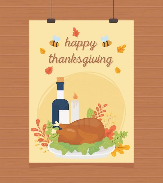 Жареная индейка вина свеча листва висит плакат с днем благодарения Premium векторы