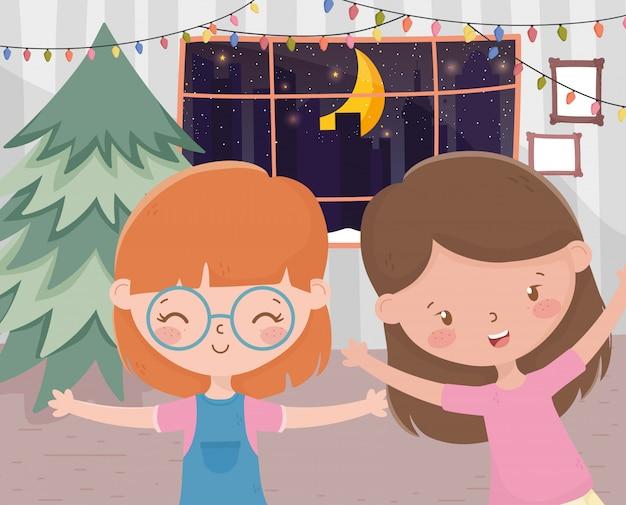 女の子のリビングルームツリーライト窓夜のお祝いメリークリスマス Premiumベクター