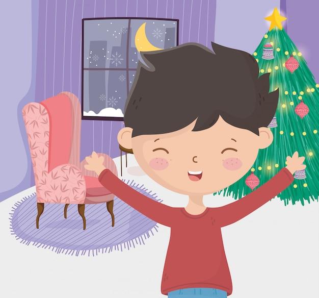 Мальчик с диваном дерево гостиной окна ночь с рождеством Premium векторы