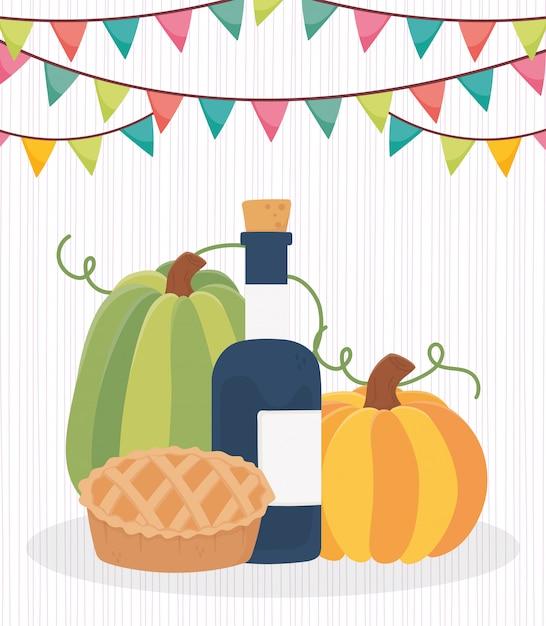 幸せな感謝祭のワインアップルケーキカボチャ Premiumベクター