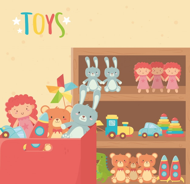 木製の棚とさまざまなおもちゃの段ボール箱 Premiumベクター
