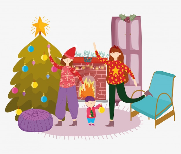 女性と小さな男の子リビングルームツリーメリークリスマス、新年あけましておめでとうございます Premiumベクター
