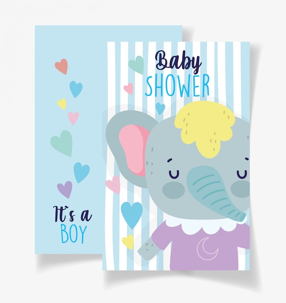 かわいい象の男の子ベビーシャワーカード Premiumベクター