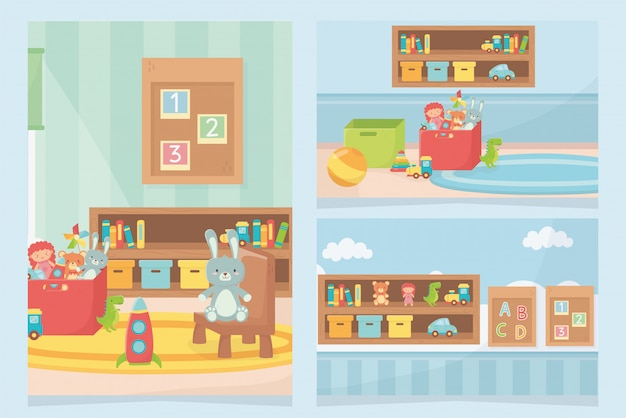 プレイルームおもちゃ棚椅子ボードカーペットボックス Premiumベクター