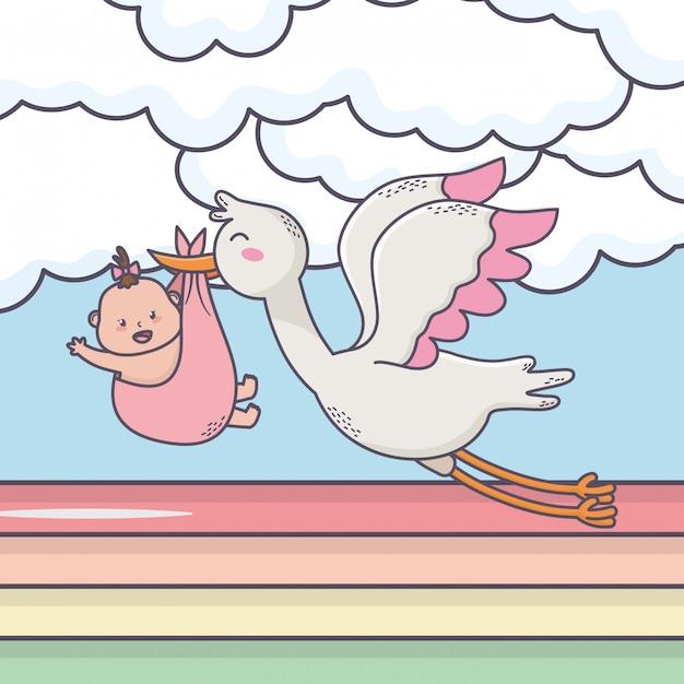 小さな女の子太陽雲虹と飛んでいるコウノトリのベビーシャワー Premiumベクター
