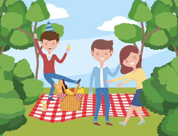 ピクニックを持つ人々の漫画 Premiumベクター