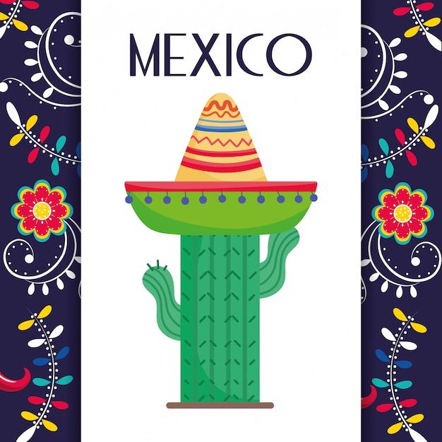 Кактус в шляпе цветы украшения мексика традиционные события карта вектор Premium векторы