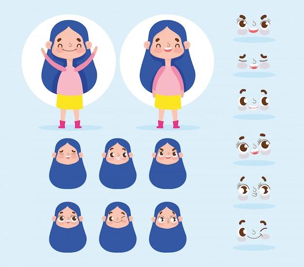 漫画のキャラクターのアニメーション表情を持つ少女長い髪が異なる Premiumベクター