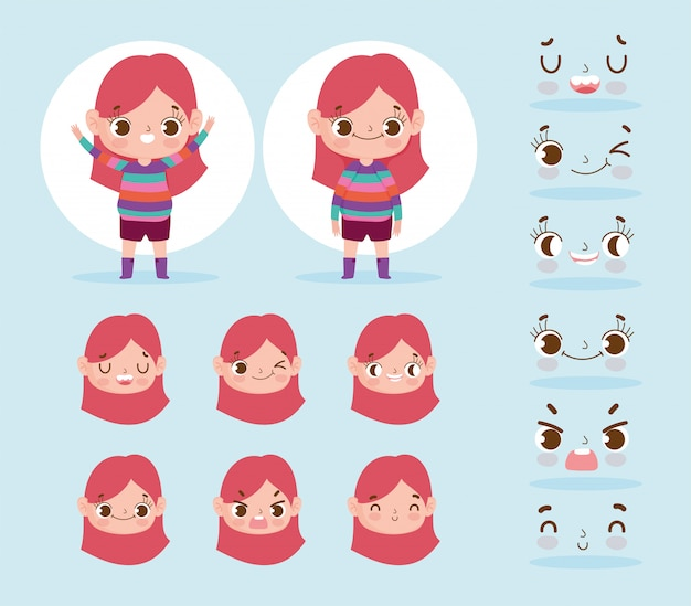 漫画のキャラクターアニメーション小さな女の子式様々な顔 Premiumベクター