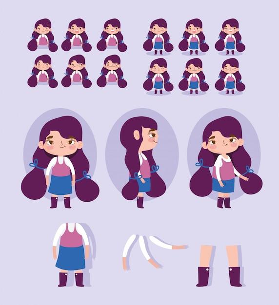 Мультипликационный персонаж анимация маленькая девочка некоторые части тела Premium векторы