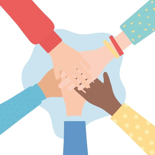 Права человека, вместе руки разнообразия людей векторная иллюстрация Premium векторы
