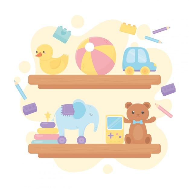 クマボールアヒル車象鉛筆漫画子供のおもちゃと木製の棚 Premiumベクター