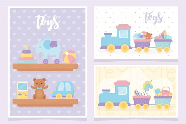 Детские игрушки полки со слоновьей пирамидкой мяч мишка автомобильная видеоигра поезд украшения карты Premium векторы