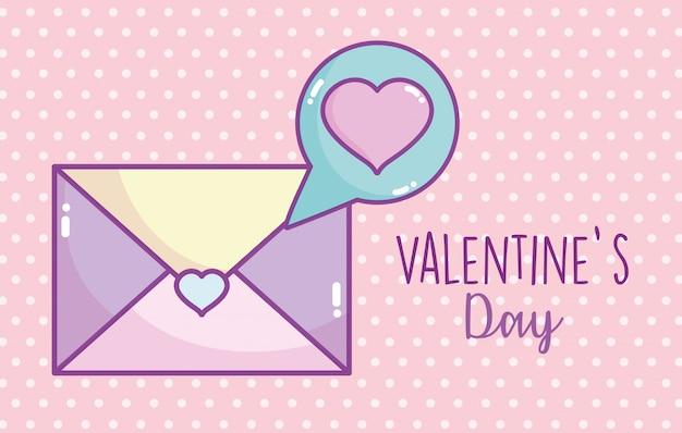 С днем святого валентина, конверт сообщение любовь сердца пузырь Premium векторы