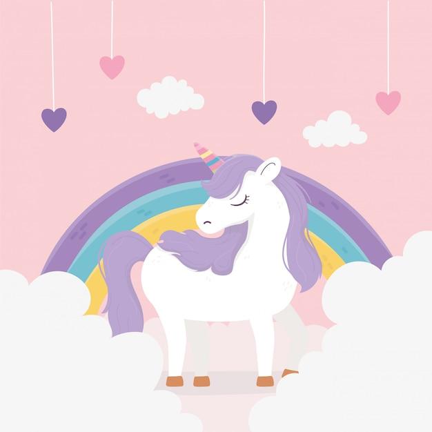 ユニコーンハート吊り虹雲ファンタジー魔法夢夢かわいい漫画イラスト Premiumベクター