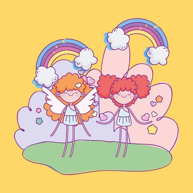 幸せなバレンタインデー、かわいいキューピッド漫画心虹ファンタジー Premiumベクター