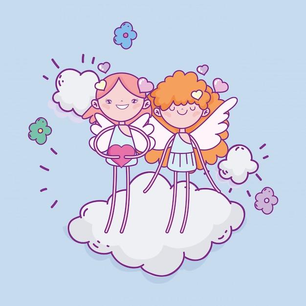 幸せなバレンタインデー、クラウドの心にかわいいキューピッド愛花ロマンチック Premiumベクター