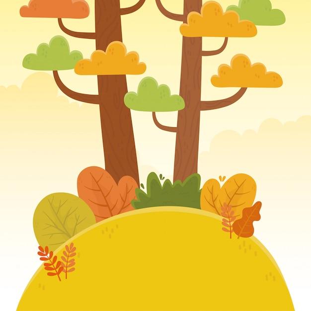 Пейзаж холмы кусты растительность листья природа листва иллюстрация Premium векторы