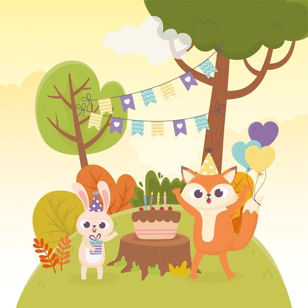 Милый кролик лиса партия шляпы торт воздушные шары украшение празднование счастливый день иллюстрация Premium векторы