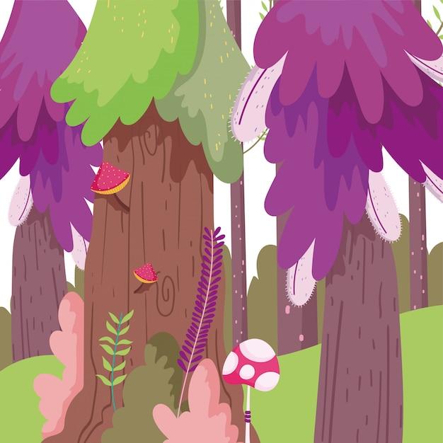 Мультфильм лесной иллюстрации Premium векторы