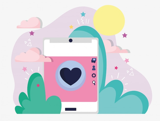 Смартфон любовь романтическая кнопка социальные медиа Premium векторы