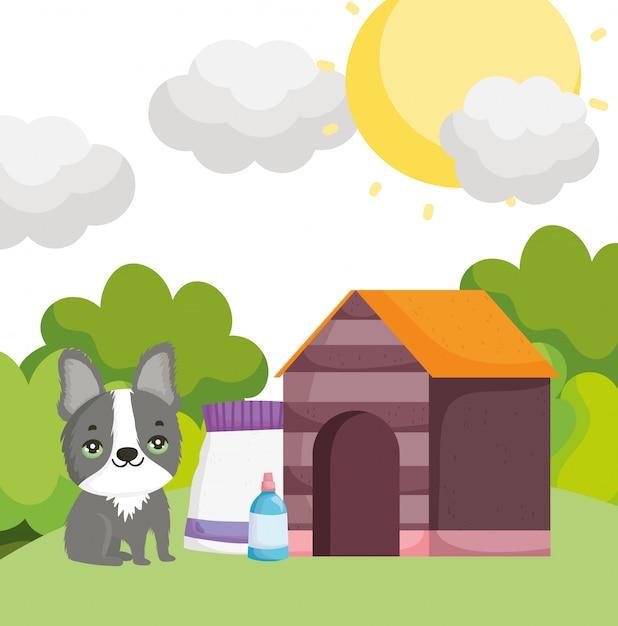 Милая собака с домашним кормом и бутылочными домашними животными Premium векторы