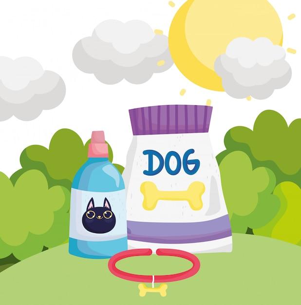 猫のペット用のフードパッケージの犬の首輪と獣医のボトル Premiumベクター