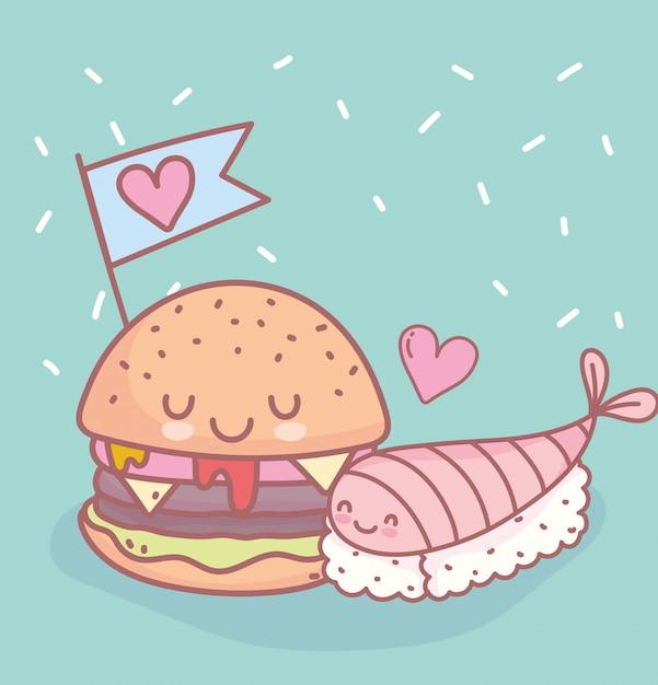 Суши и бургер с любовью меню ресторана еда мило Premium векторы