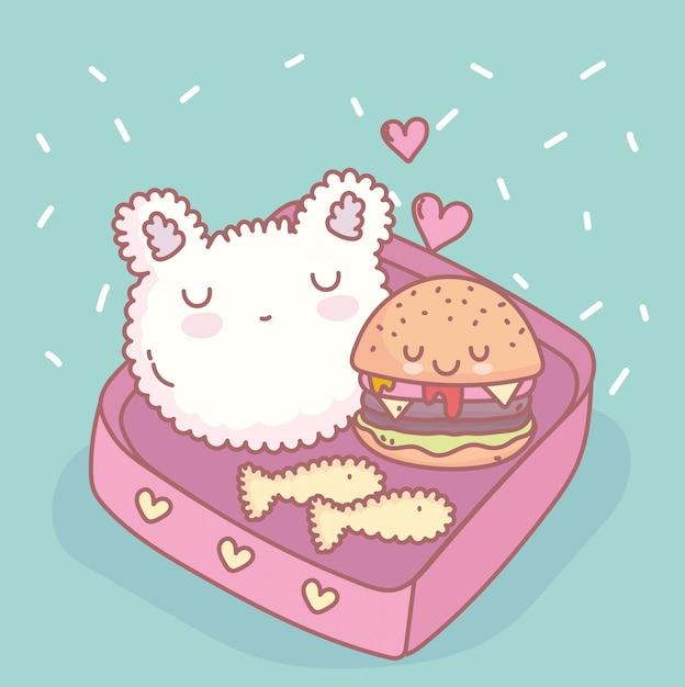 ライスハンバーガー魚メニューレストラン食べ物かわいい Premiumベクター