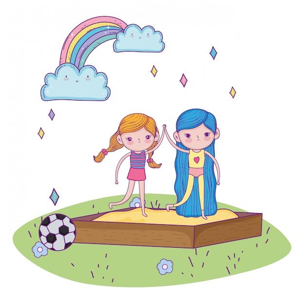 幸せな子供の日、サンドボックスの遊び場で手を繋いでいる少女 Premiumベクター