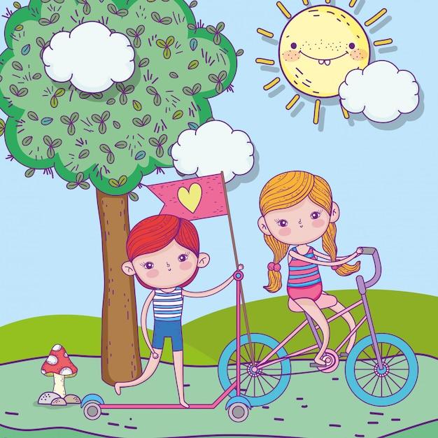 幸せな子供の日、少年乗馬スクーターと屋外自転車を持つ少女 Premiumベクター