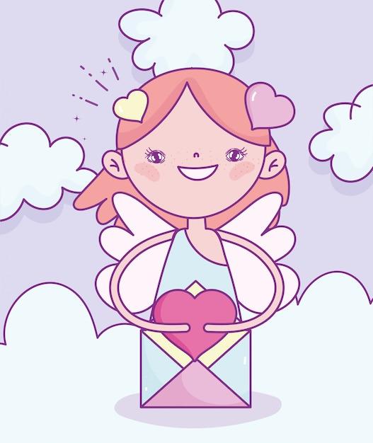 幸せなバレンタインデー、メールとかわいいキューピッド愛ロマンチックな雲の図 Premiumベクター