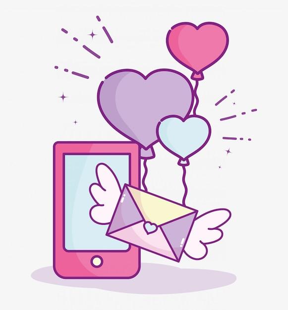 С днем святого валентина, телефон почта сообщение воздушные шары в форме сердца любовь векторные иллюстрации Premium векторы