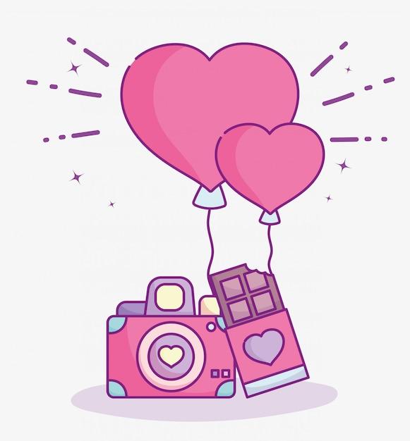 幸せなバレンタインデー、写真カメラチョコレートバーと風船愛のベクトル図 Premiumベクター