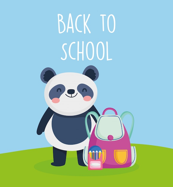 バッグと鉛筆で学校教育パンダに戻る Premiumベクター