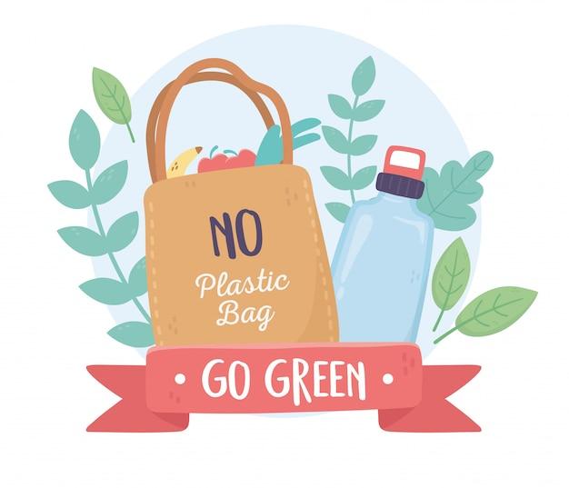 ビニール袋とボトルの葉の環境エコロジーはありません Premiumベクター