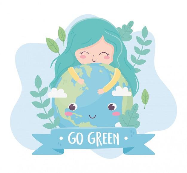 Симпатичная девушка обнимает мир растений природа окружающая среда экология Premium векторы
