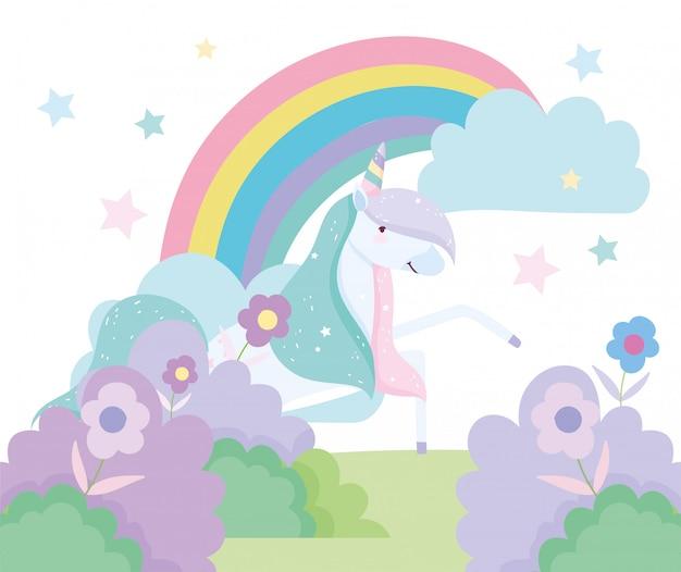 ユニコーンの花の茂み虹装飾ファンタジー魔法かわいい漫画 Premiumベクター