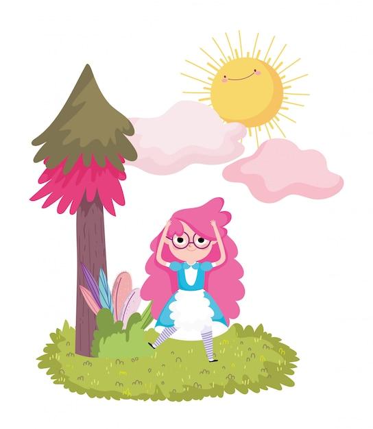 Девушка сосна листва трава трава солнце облака в стране чудес Premium векторы