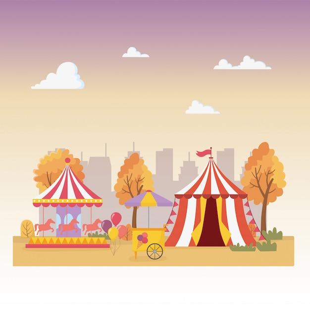 Веселая ярмарка карнавальная палатка карусель киоск мороженого город отдыха развлечения Premium векторы