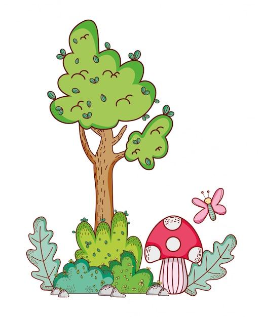 Дерево гриб бабочка ветка мультфильм Premium векторы