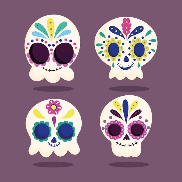День мертвых, катрины череп цветочный цветочный орнамент традиционный мексиканский праздник Premium векторы