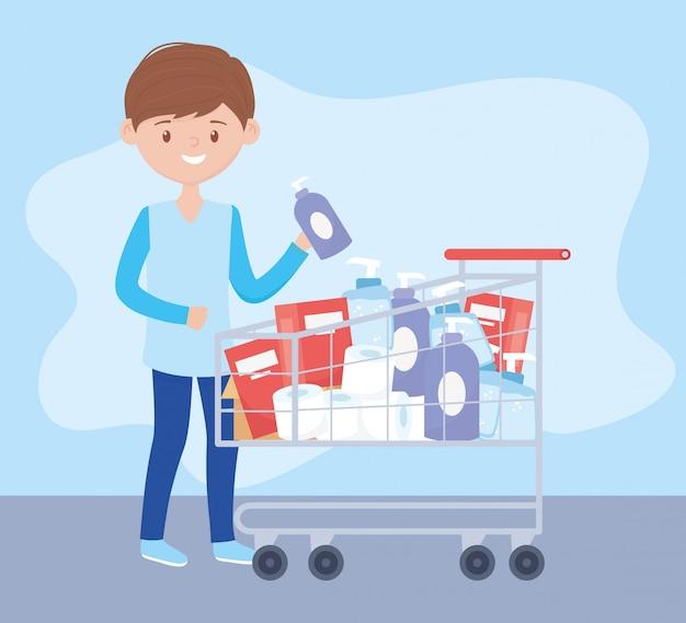 クリーニング製品がいっぱい入ったカートを持ち、過剰購入を心配している人 Premiumベクター